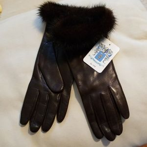 Portalano brown calfskin gloves with mink cuffs